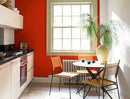 orange painted kitchen