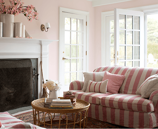 pink painted living room